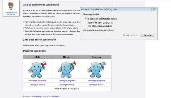 Interfaz software SueñaLetras