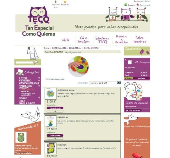 Imagen interfaz tienda online españa Tan Especial como Quieras
