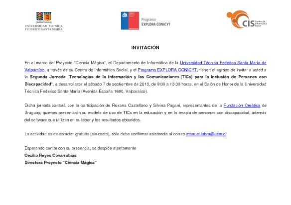 Invitación a la Segunda Jornada de TICs Inclusivas