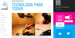 Imagen de la página donde debes votar por el Proyecto Tecnología para Todos que concursa en Innovatón