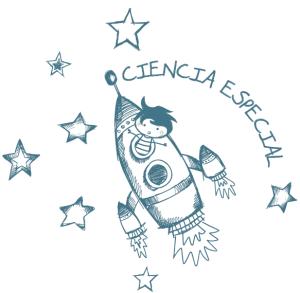 Logo proyecto ciencia especial niño en un cohete viajando a las estrellas