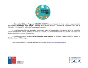 Invitación para la presentación del Proyecto Tecnología para Todos en Rancagua 2014
