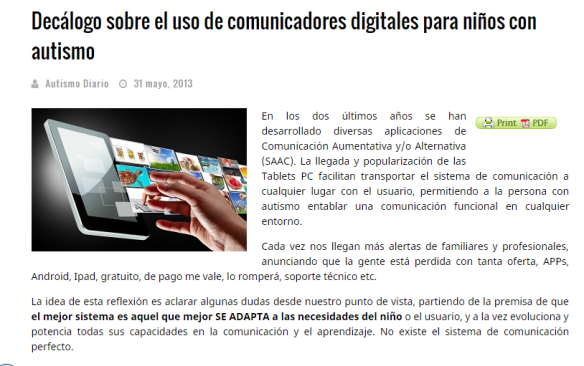 Imagen de la interfaz del sitio web de Autismo Diario