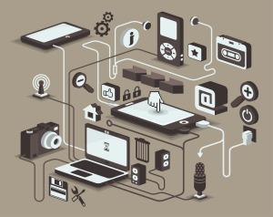 Ilustración de elementos para proyectos multimedia