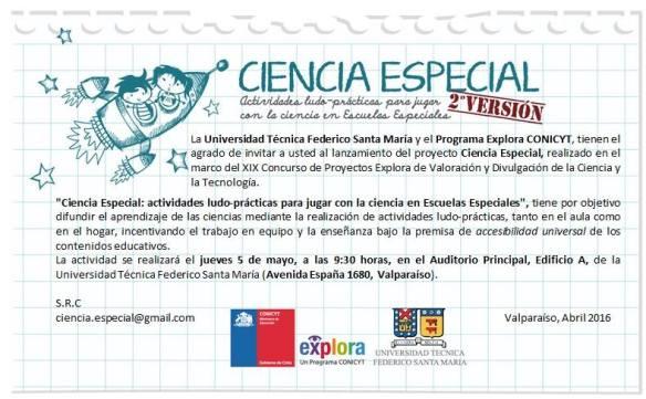 Invitacion a Lanzamiento Revista Ciencia Especial 2016